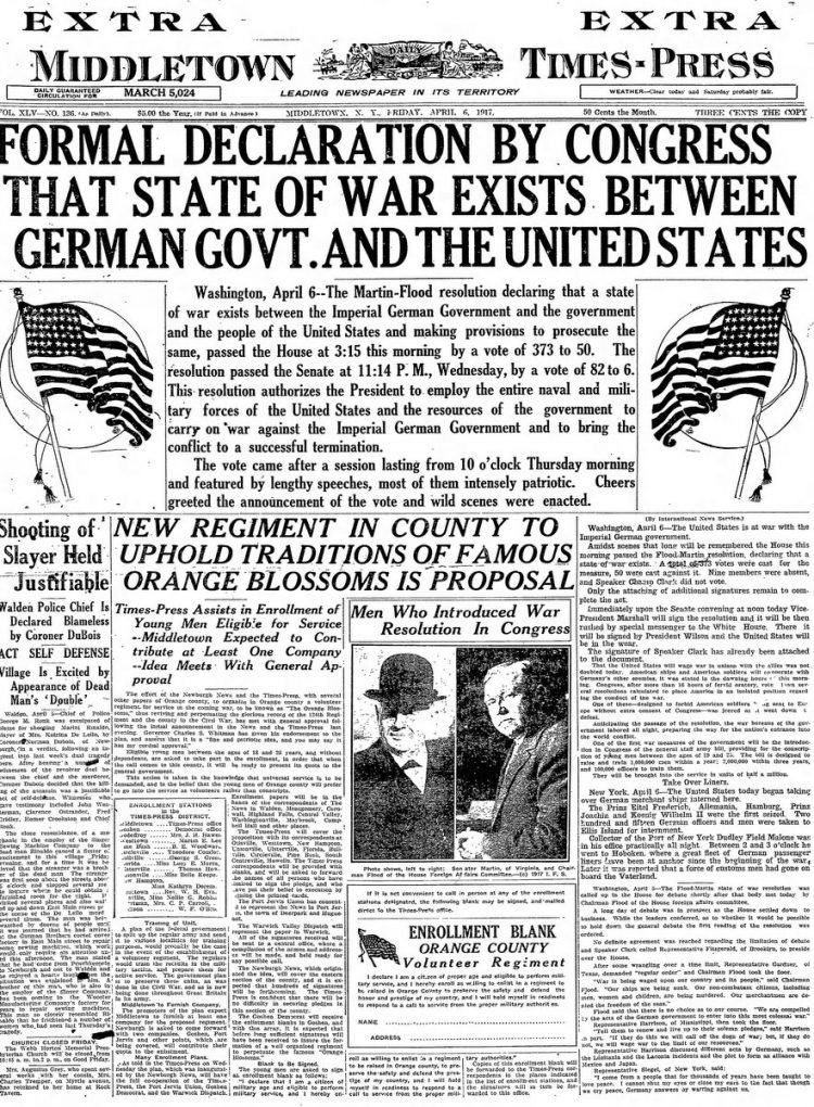 Middletown Times Press newspaper front page - US in World War I - April 1917