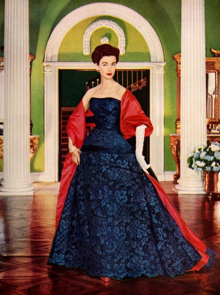Midnight blue evening gown from the 50s