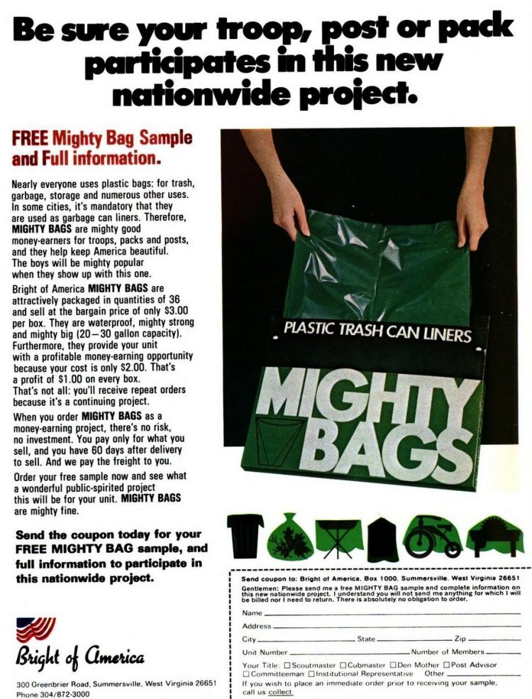 Mighty Bags trash can liners for fundraiser sales in 1970