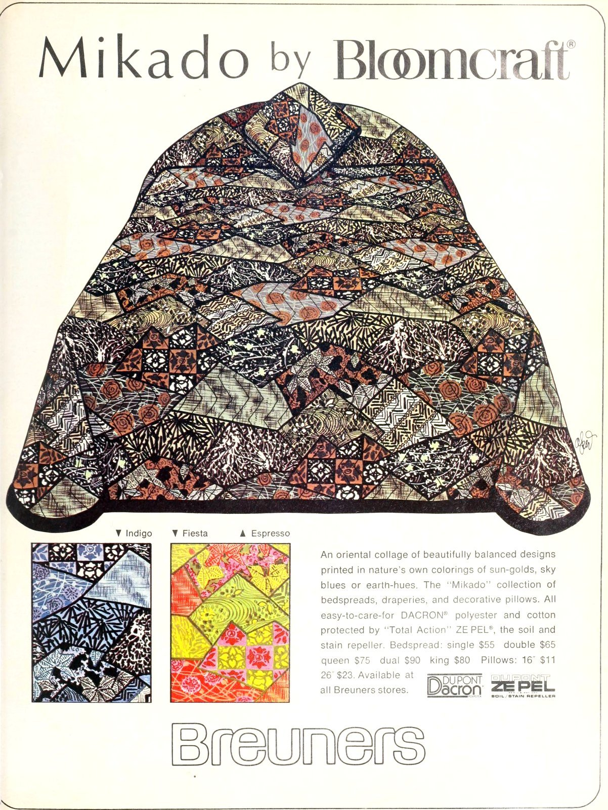 Mikado by Bloomcraft vintage bedspreads at Breuners (1974)