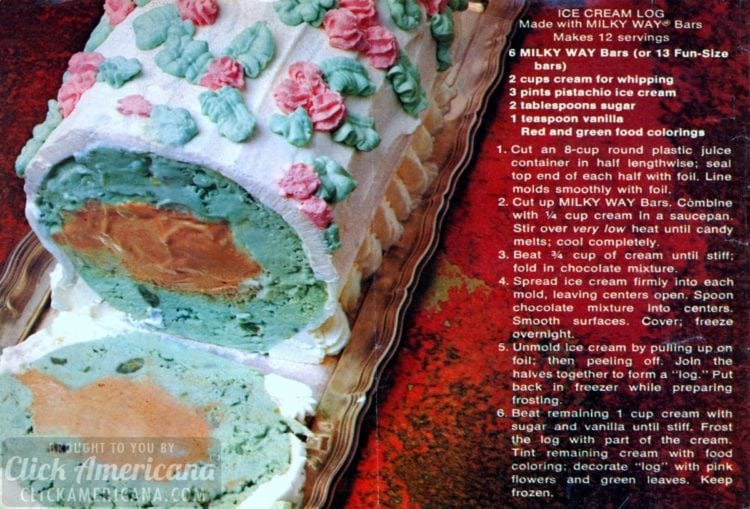 A party-perfect decorated dessert: The Milky Way ice cream log from the '60s & '70s