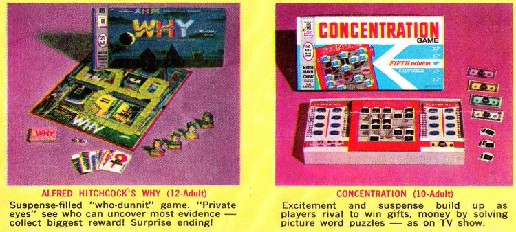 Milton Bradley board games from the early 1960s - Alfred Hitchcock's Why Concentration