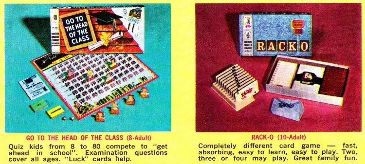 Milton Bradley board games from the early 1960s Go to the Head of the Class Rack-o