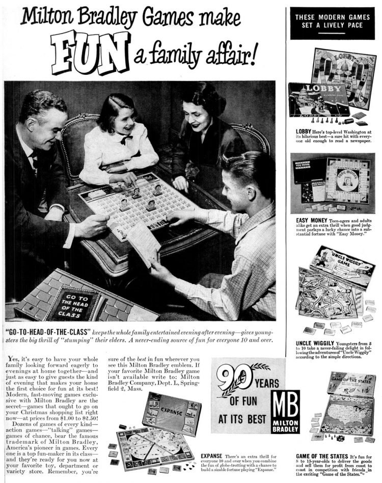 Milton Bradley family board games - Vintage fun from Dec 4, 1950