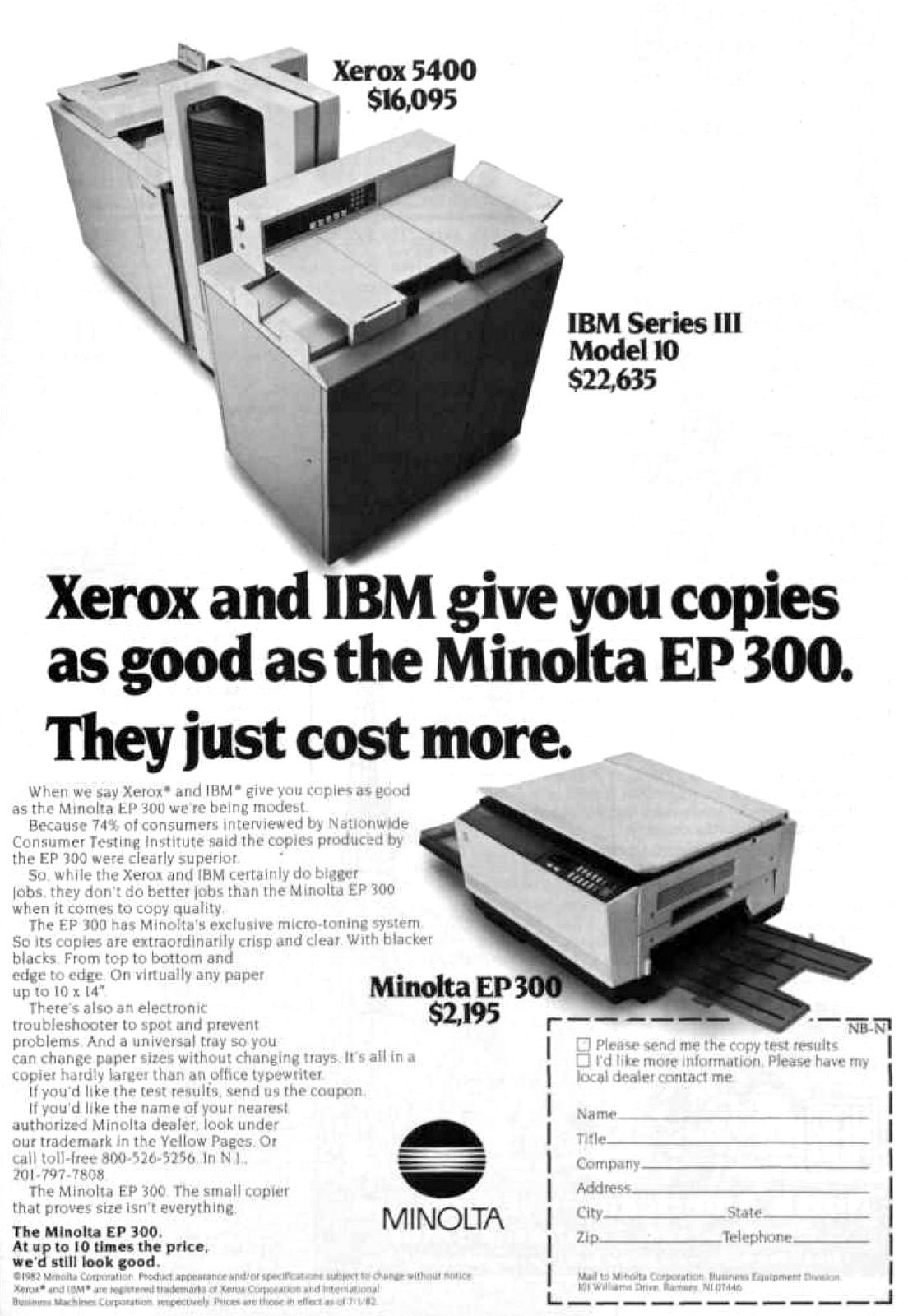 Minolta EP 300 vintage copier (1982)