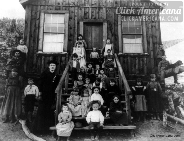 Miss Blanche Lamont with her school at Hecla, Montana, Oct. 1893-001