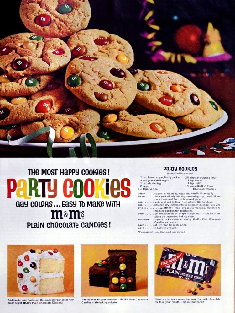 Mmmmm... make some mms party cookies with this easy recipe (1964)