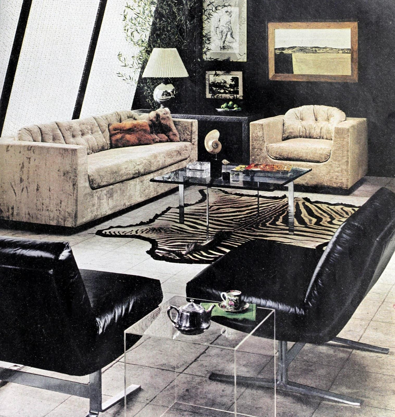 Mod-style furnishings in a retro sixties living room (1969)