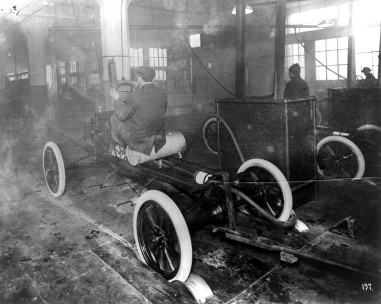 Model Ts coming off the assembly line at the Highland Park plant