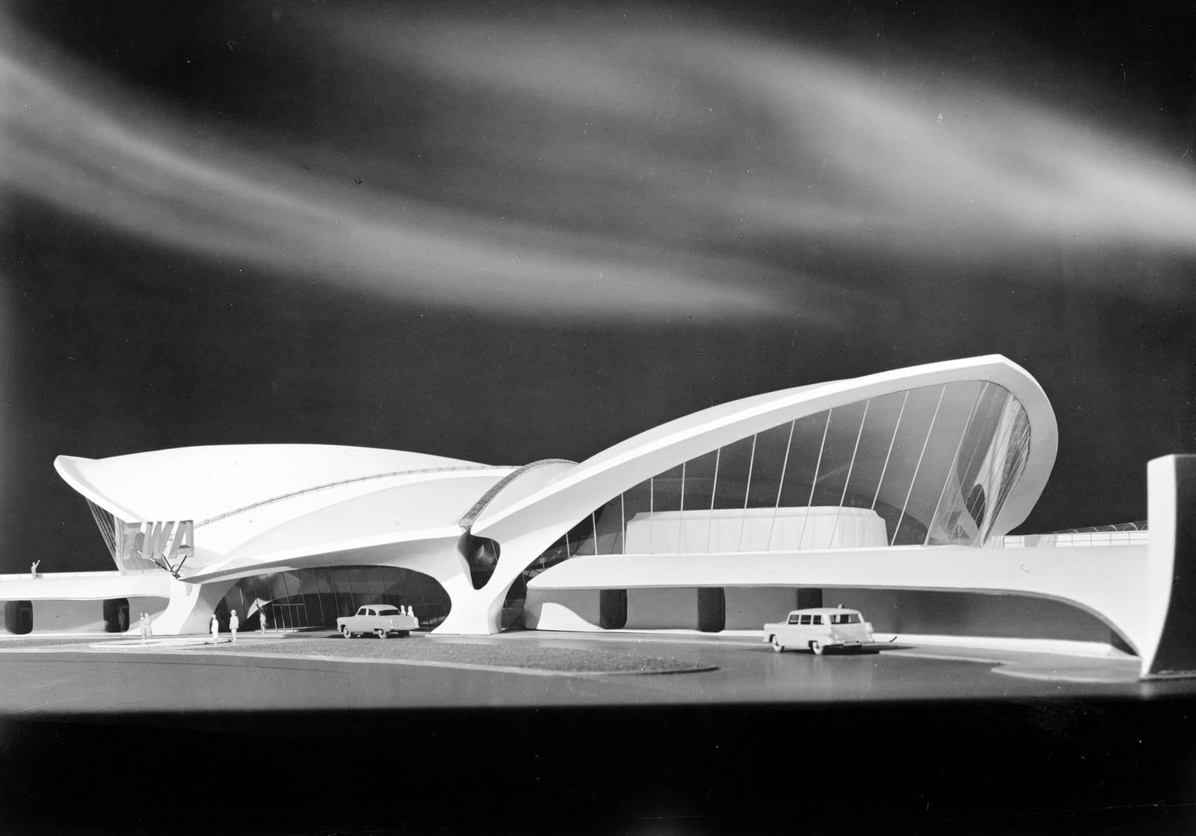 Model front view of TWA terminal at JFK airport