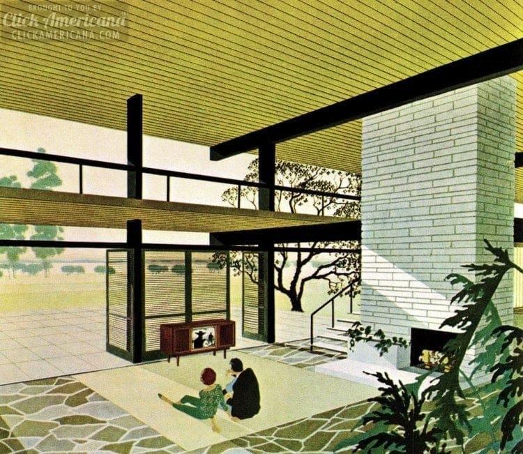 Modernist home illustration by Charles Schridde