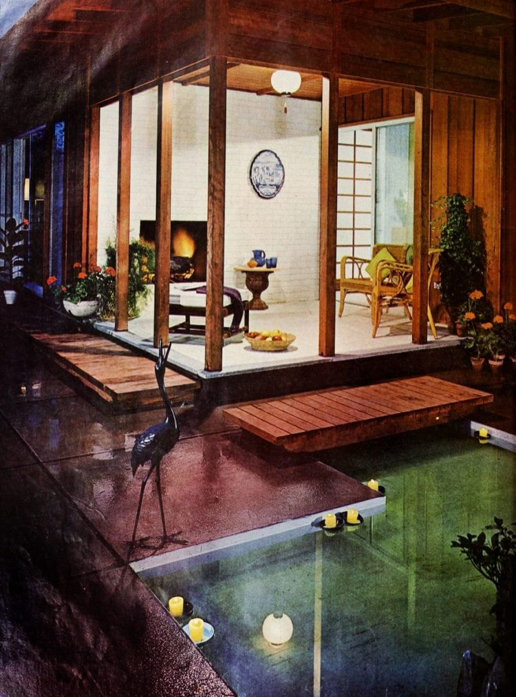 Modernist backyard pond and decking from 1960