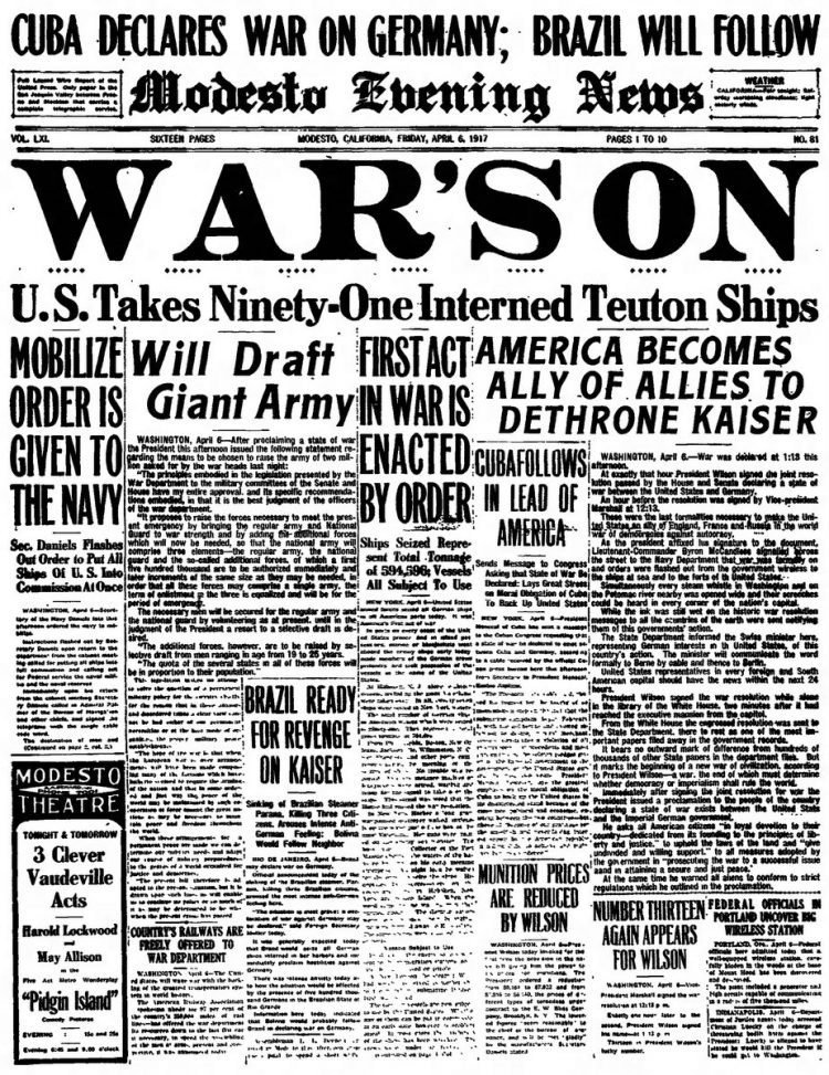 Modesto Evening News newspaper front page - US in World War I - April 1917