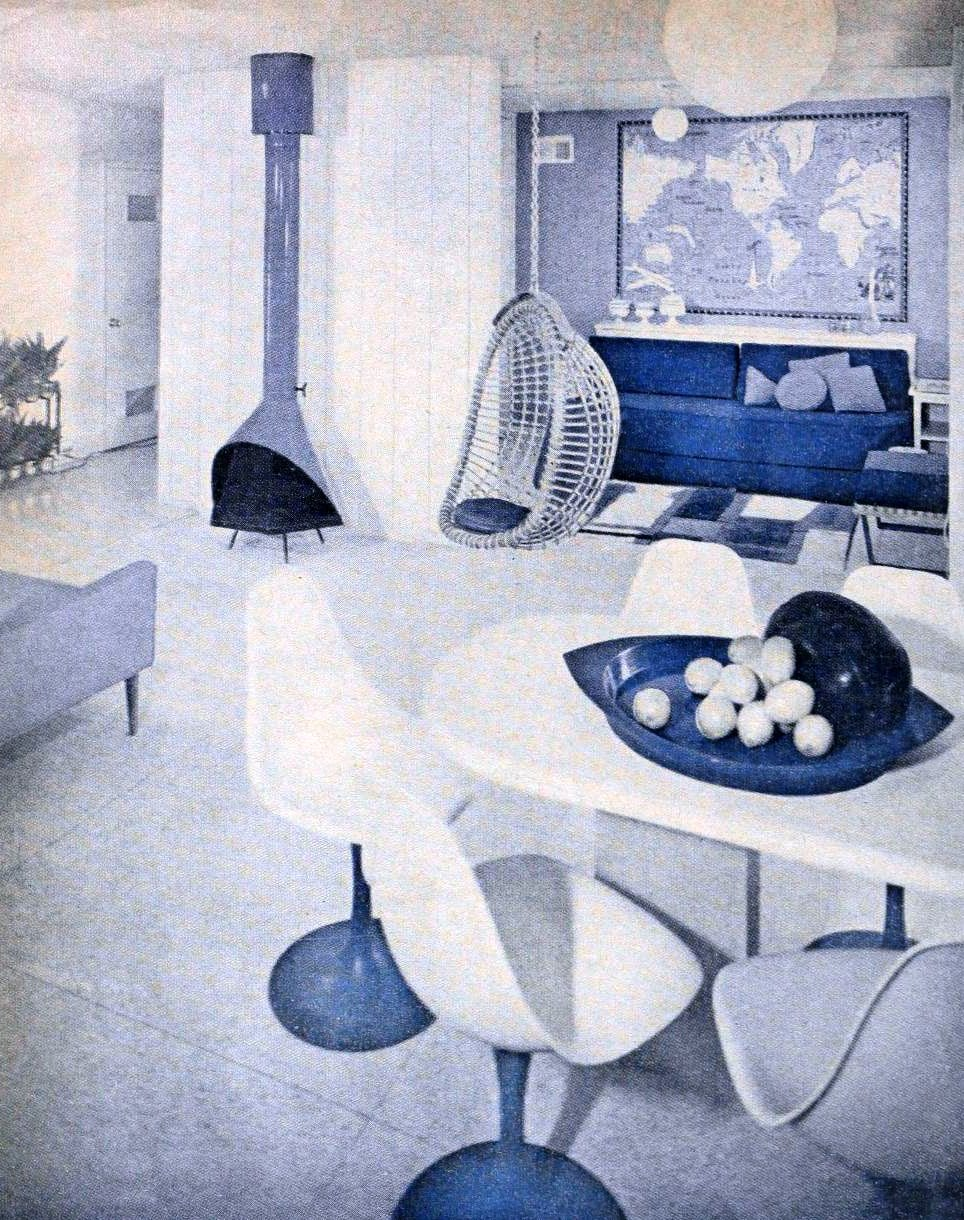 Molded plastic breakfast chairs and legless rattan chair swing (1962)