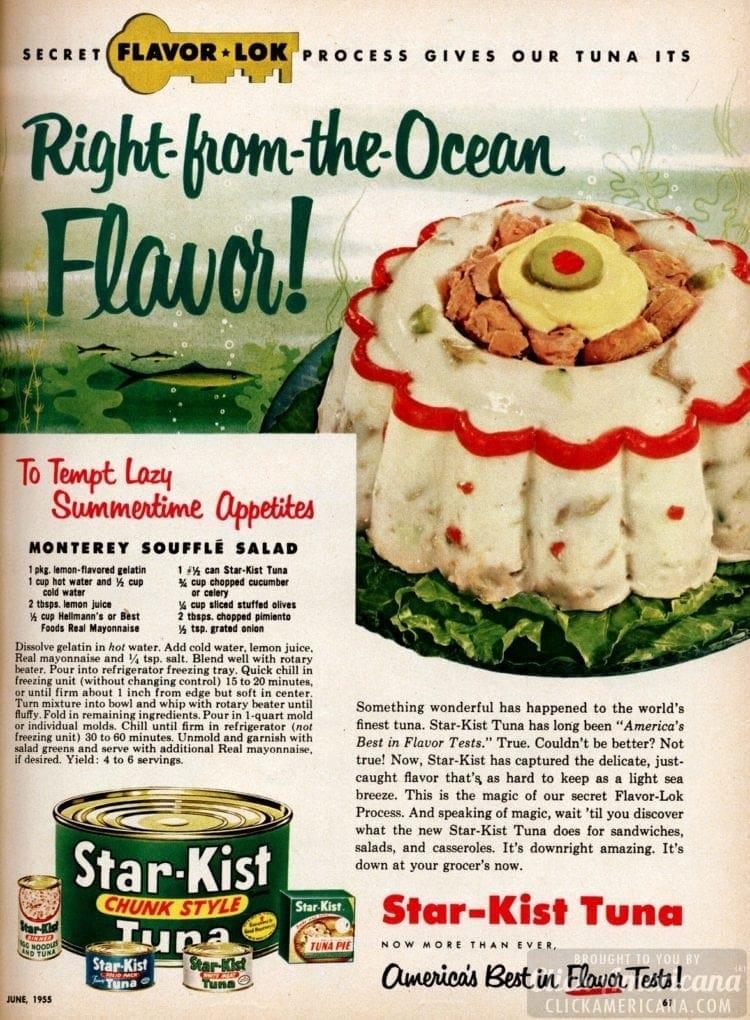 Monterey souffle salad recipe (1955)