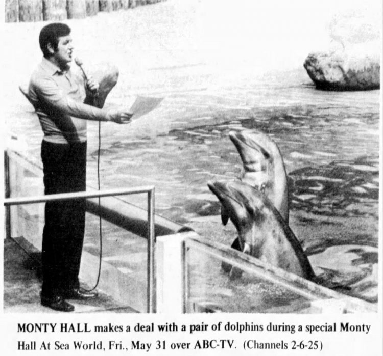 Monty Hall - Let's Make a Deal game show with dolphins 1974