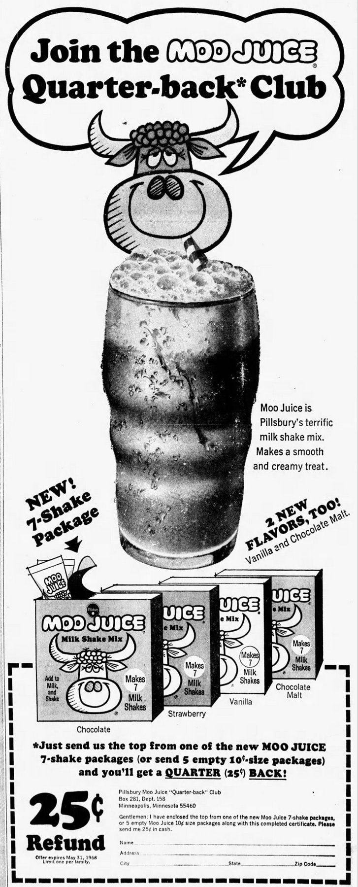 Moo Juice newspaper ad from 1968