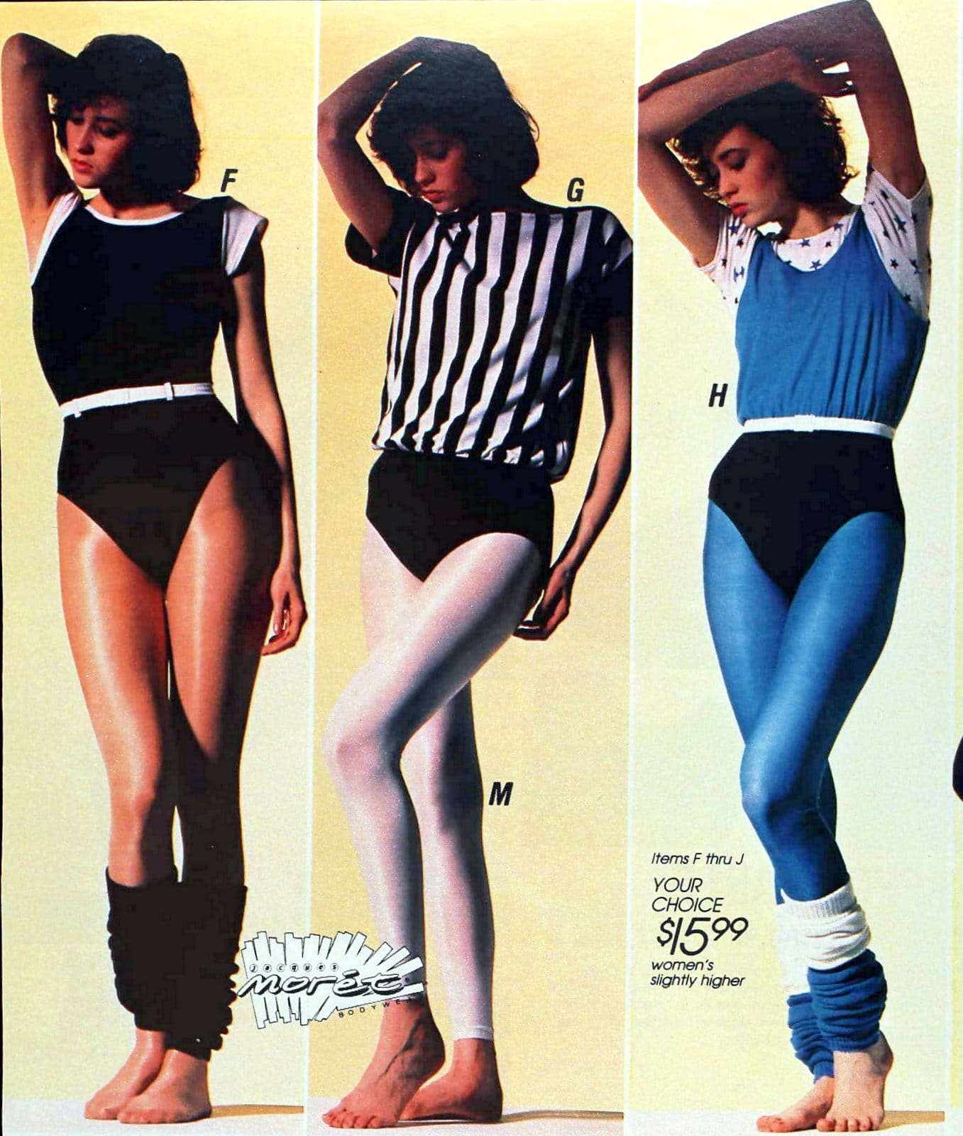 Moody 1980s girls wearing leotards and leg warmers
