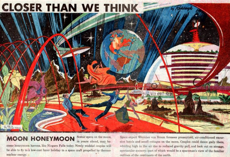 Moon honeymoon- Futuristic vintage invention