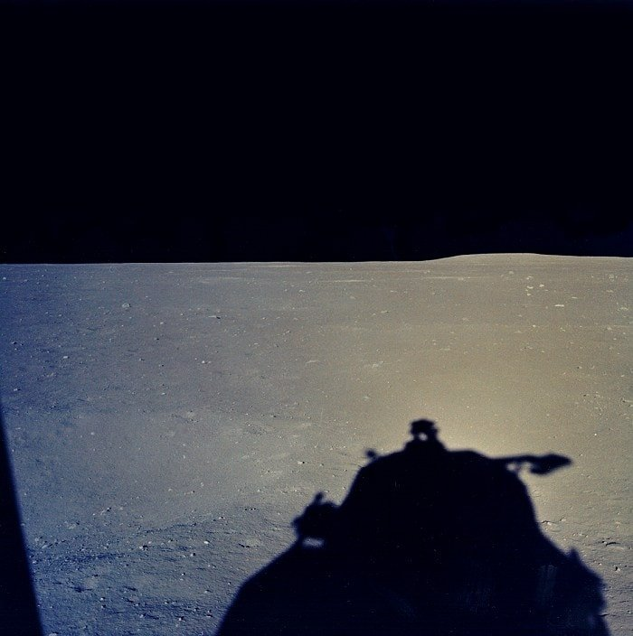 Moon landing view from LM window just after landing July 20, 1969