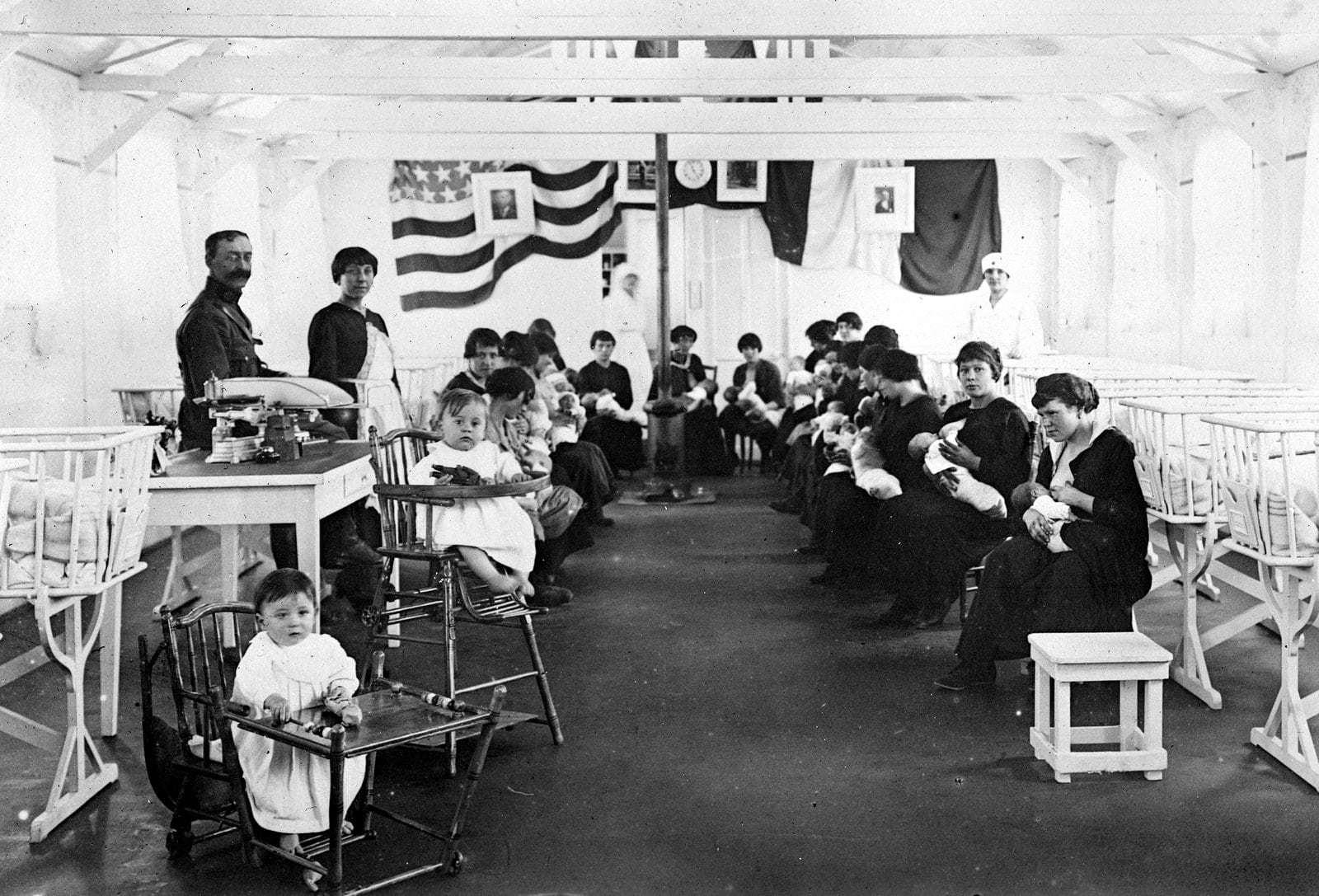 Mothers nursing babies - Red Cross tent 1918