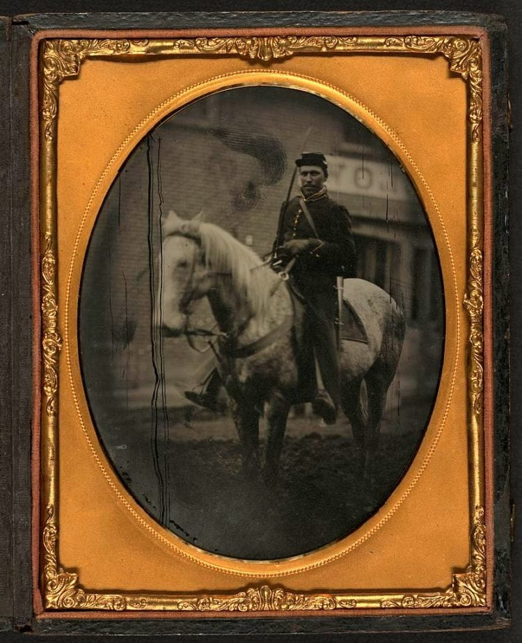 Mounted cavalry soldier seated on horse