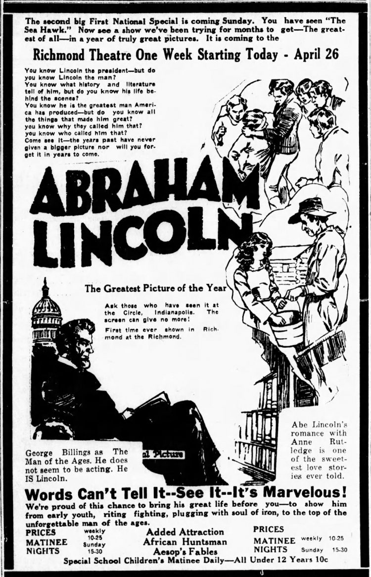 Why the classic movie 'Dramatic Life of Abraham Lincoln' won raves and awards (1924)
