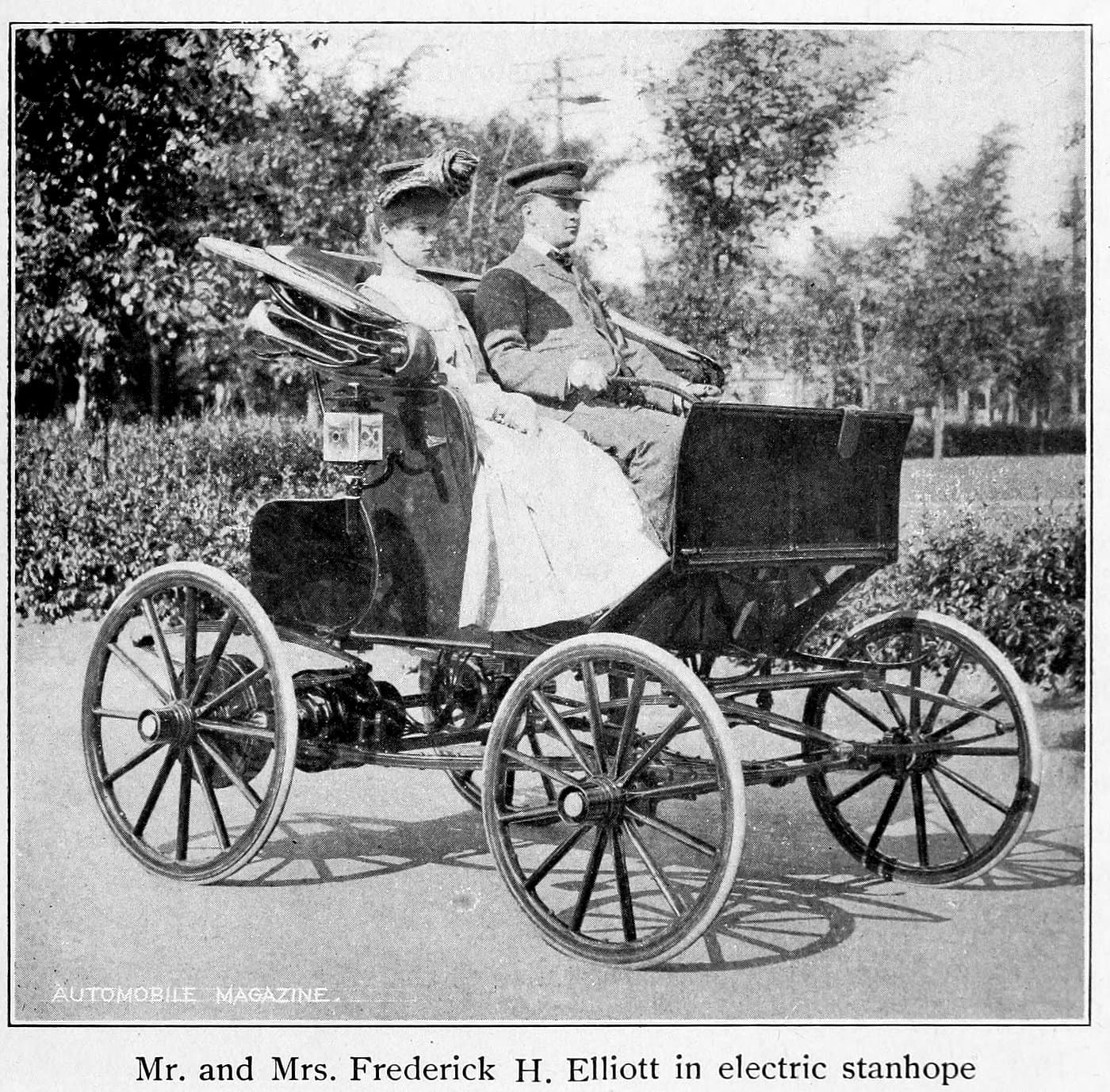 Mr. and Mrs. Frederick H. Elliott in electric stanhope (1902)