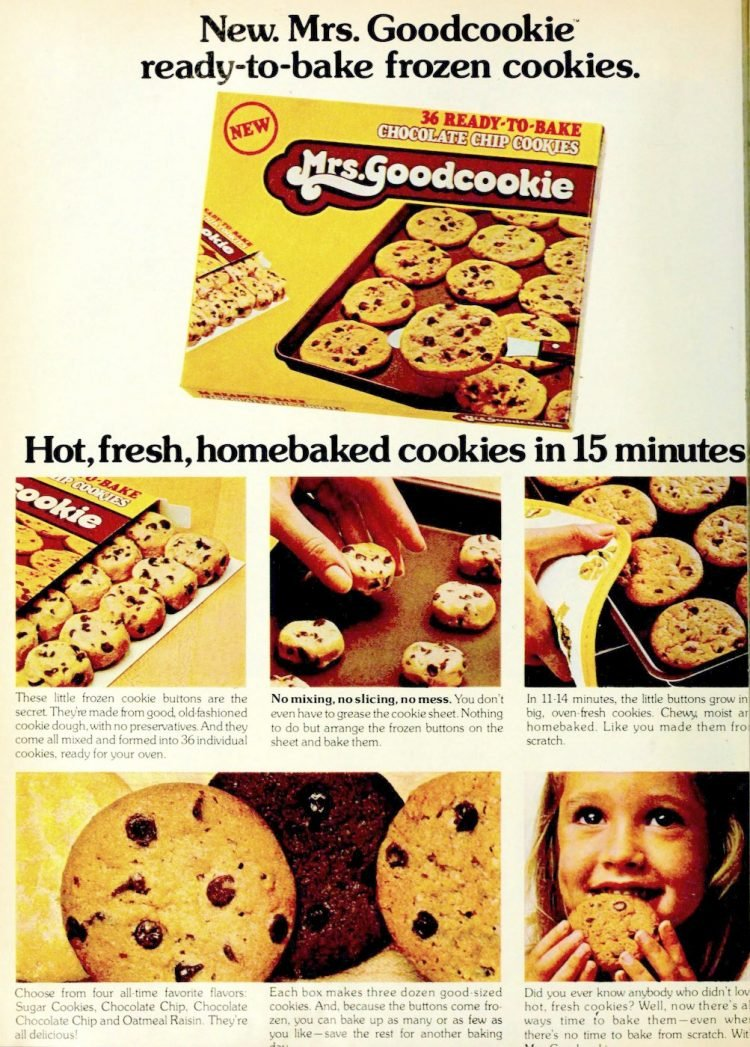 Mrs Goodcookie ready-to-bake frozen cookies 1977