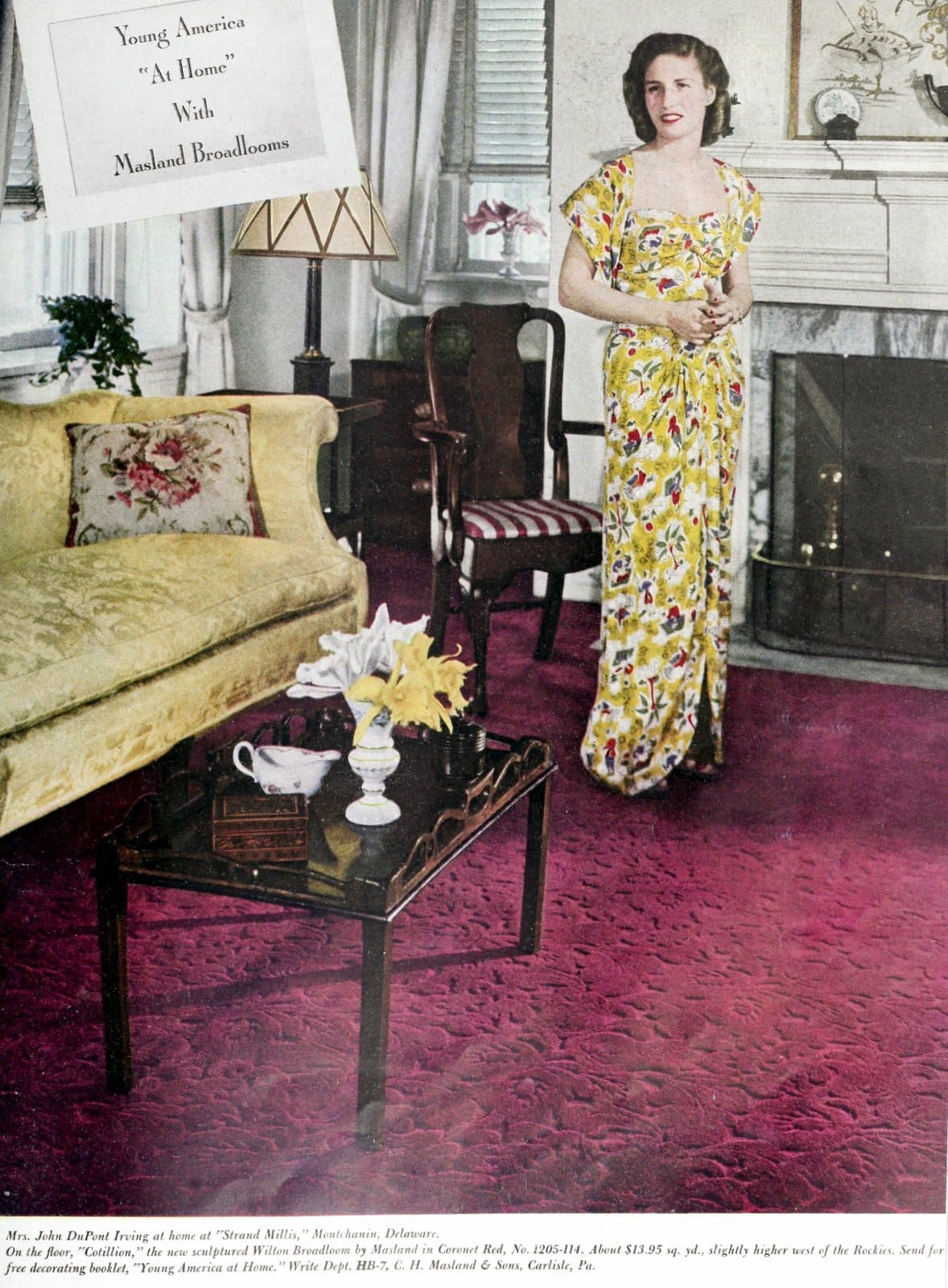 Mrs John DuPont Irving - Rich wife from the 1940s with Masland Broadloom Rug