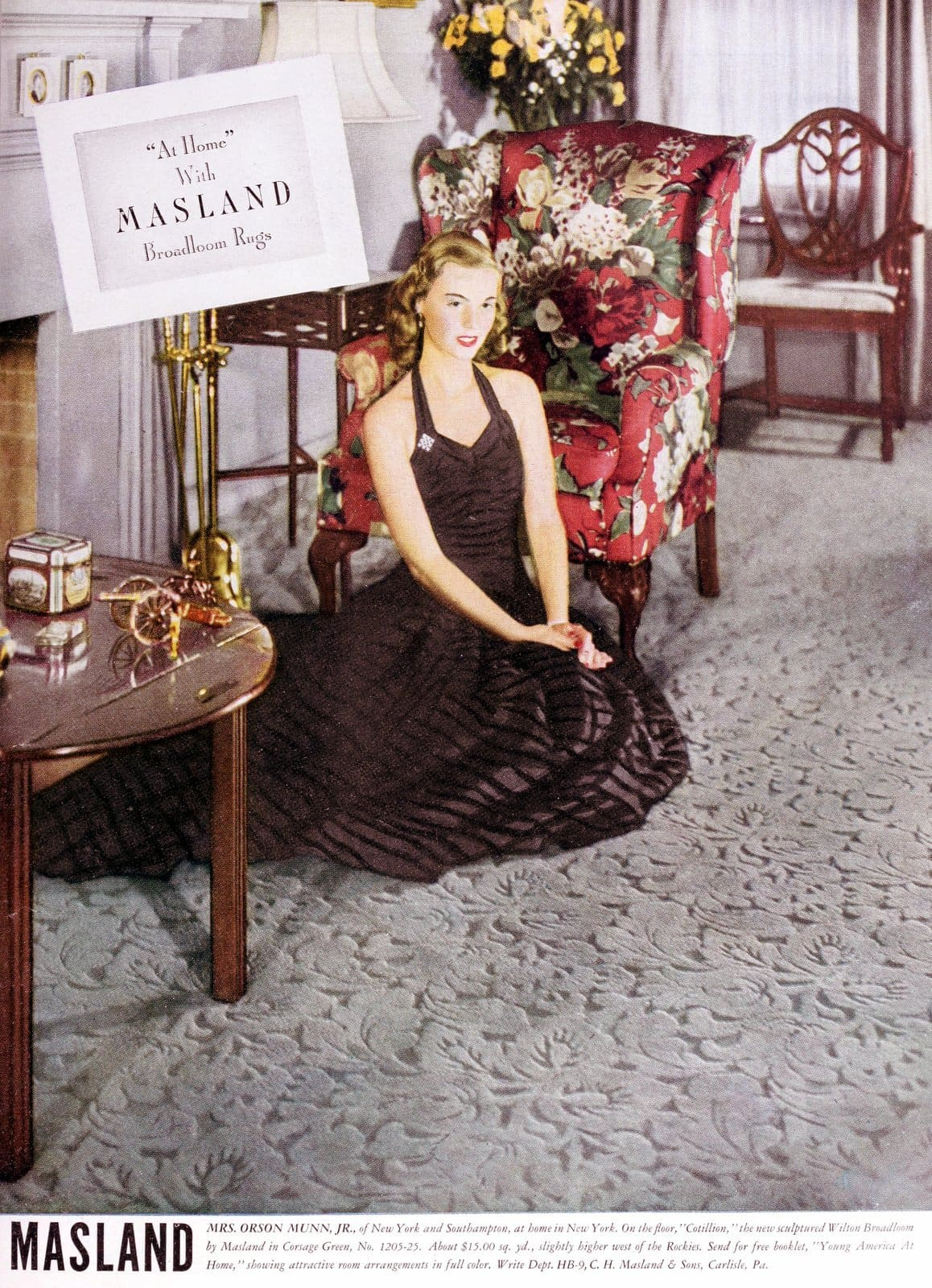 Mrs Orson Munn Jr - Rich wife from the 1940s with Masland Broadloom Rug