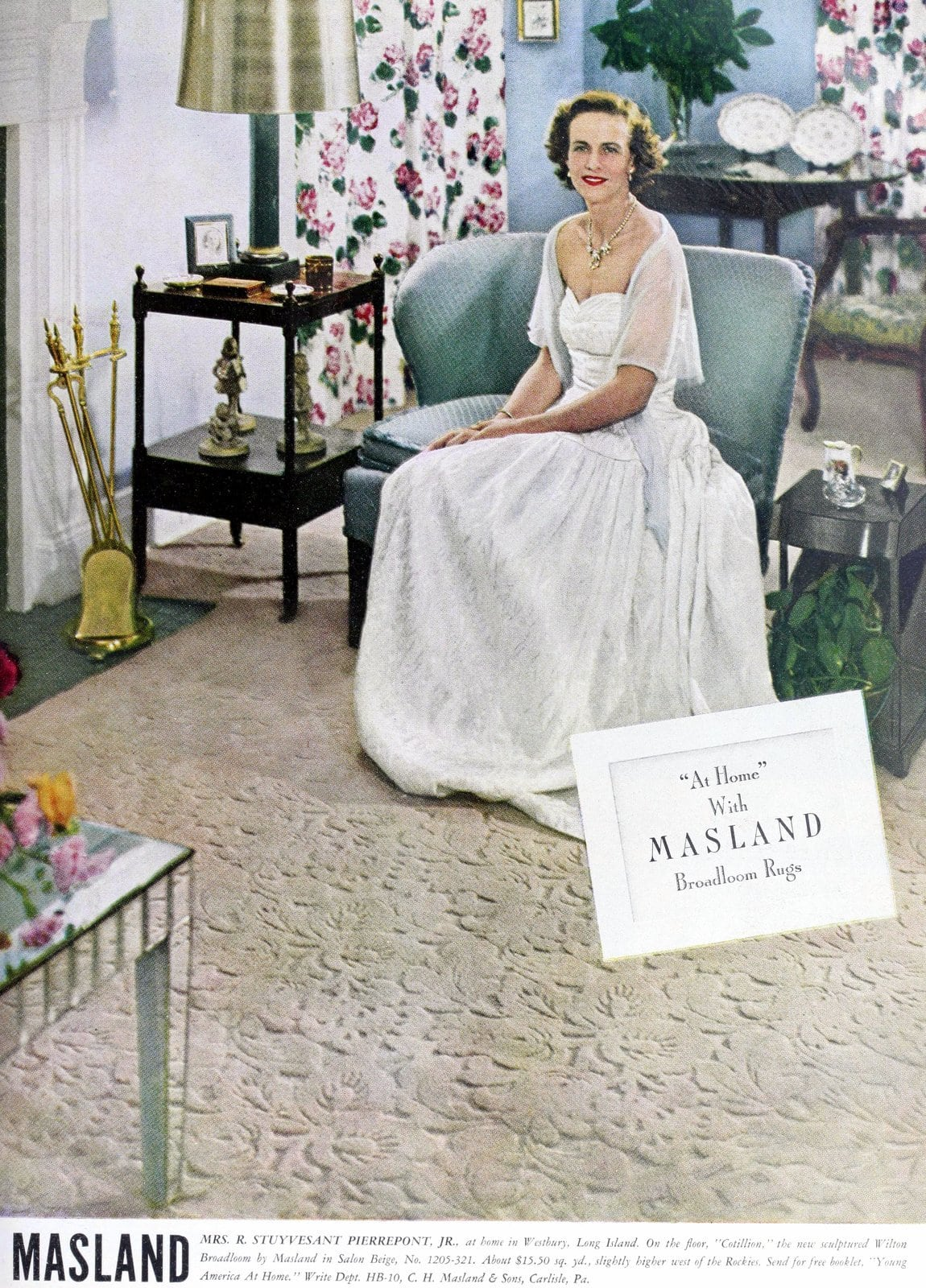 Mrs R Stuyvesant Pierrepont Jr - Rich wife from the 1940s with Masland Broadloom Rug