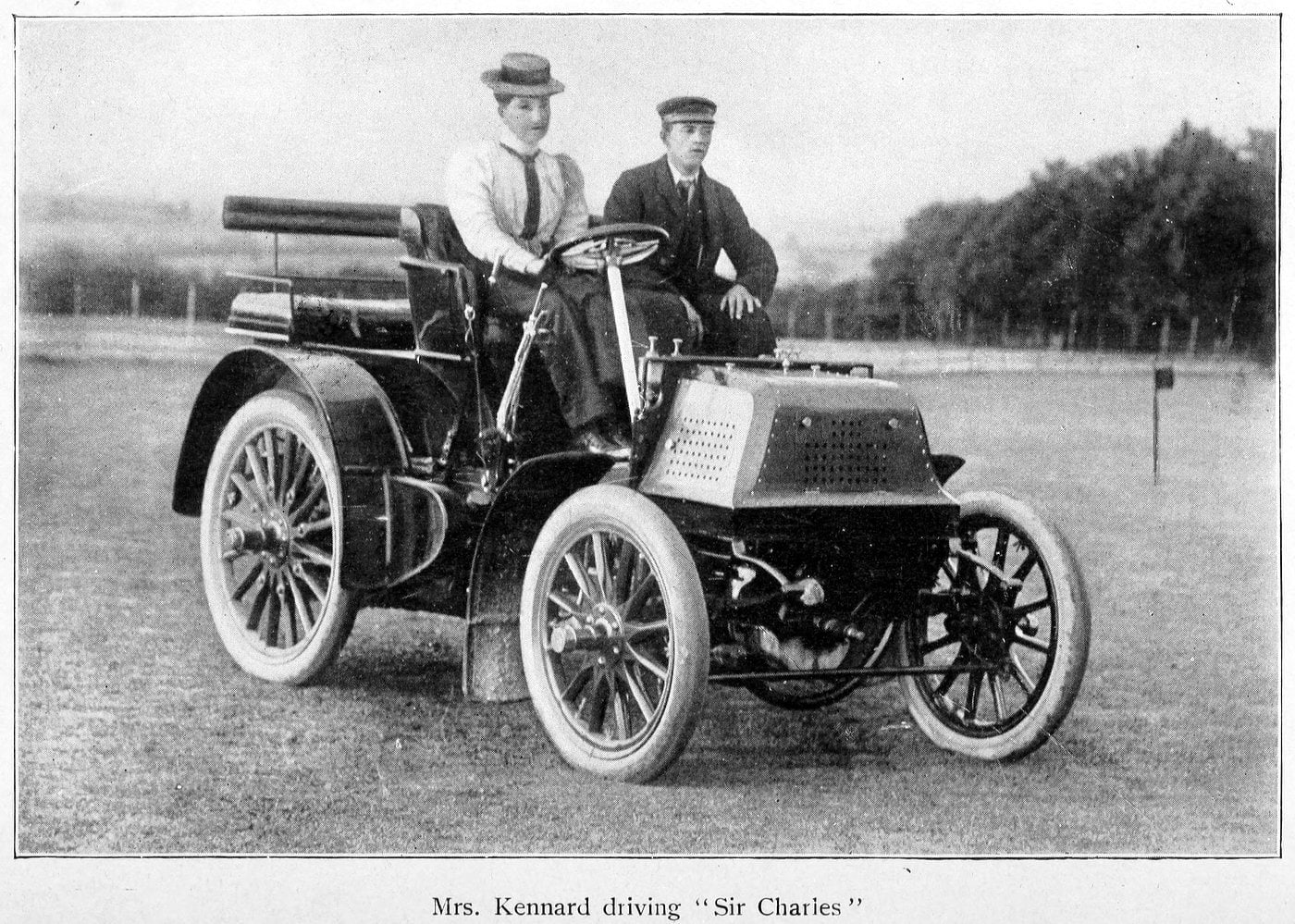 Mrs. Kennard driving automobile named Sir Charles (1902)