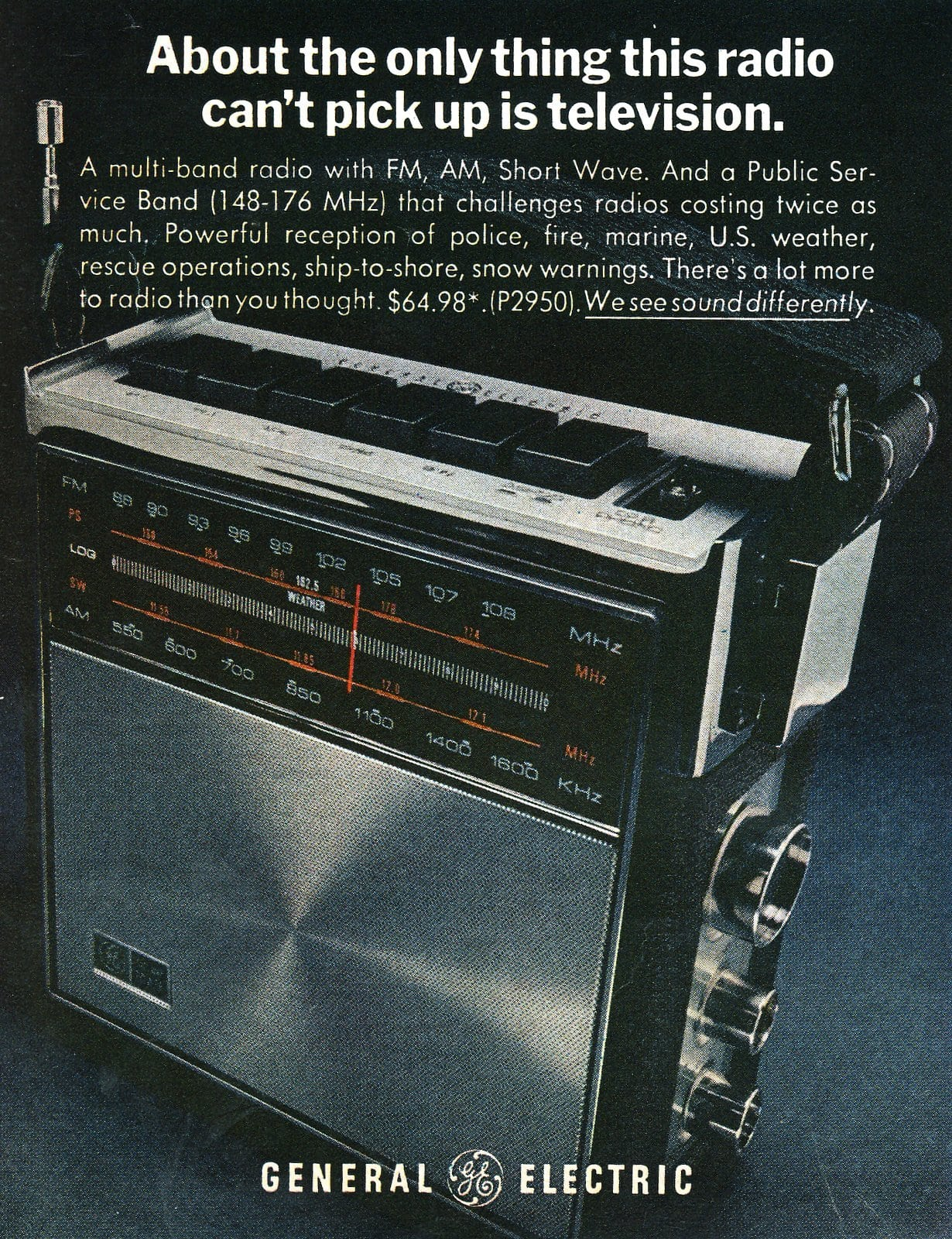 Multi-band radio with FM, AM and short wave (1970)