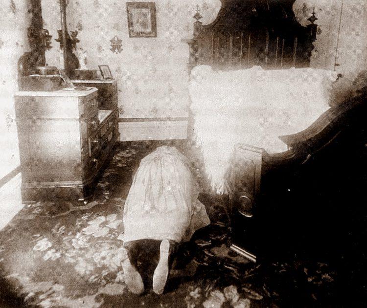 Murder victim Mrs Borden as she was found