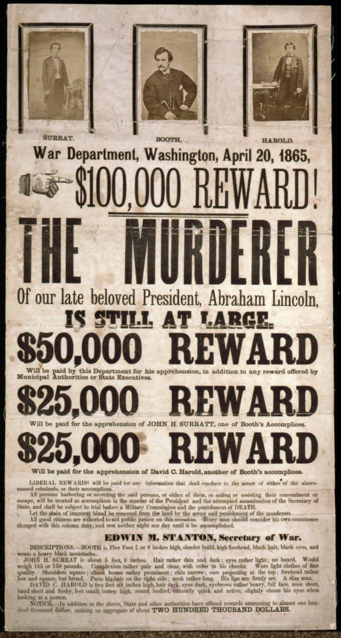Murderer of Abraham Lincoln - 100000 reward