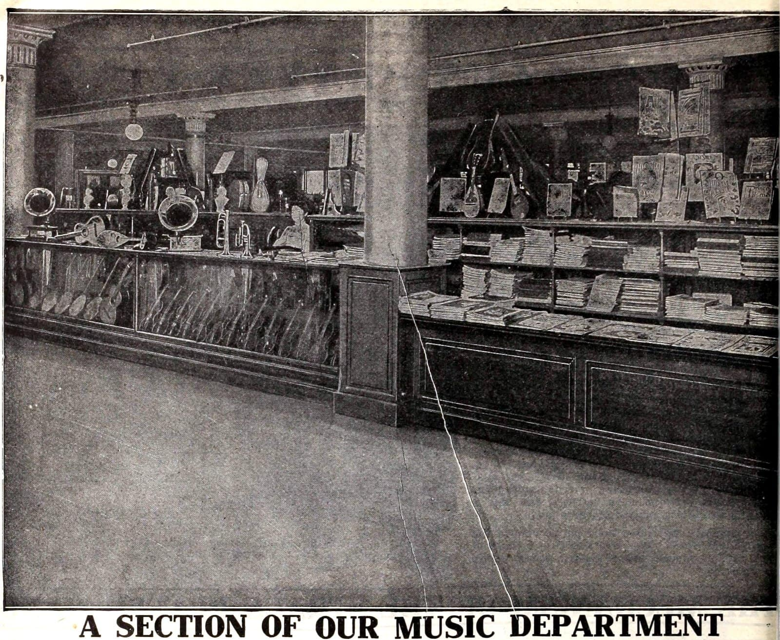 Music department at the vintage Macy's store in NYC (1900s)