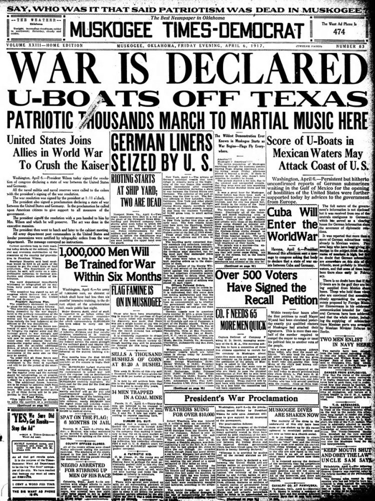 Muskogee Times Democrat newspaper front page - US in World War I - April 1917