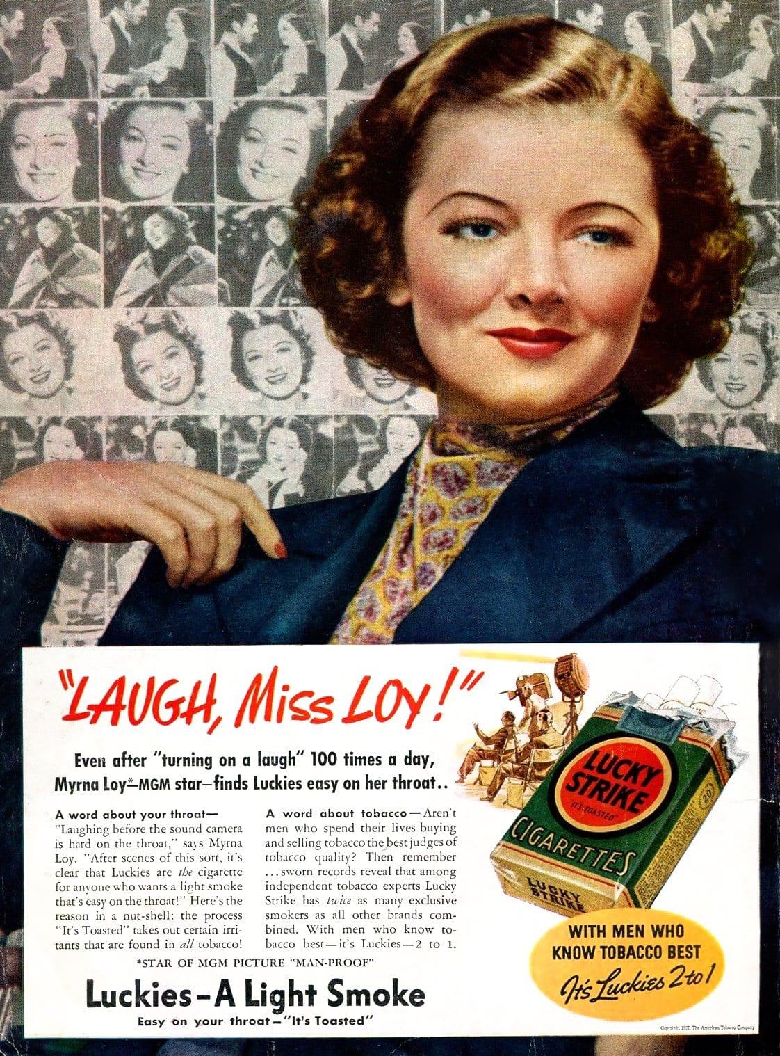 Myrna Loy cigarettes 1938