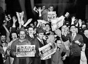 NAZIS SURRENDER newspaper headlines - VE Day - Victory in Europe 1945
