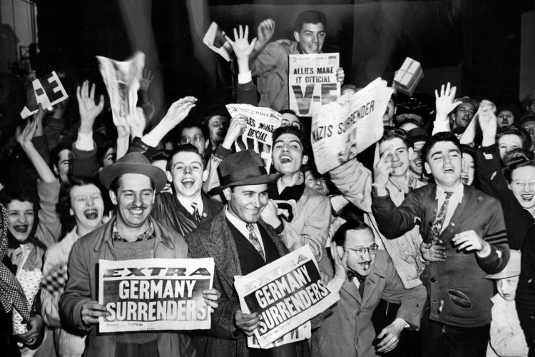 NAZIS SURRENDER newspaper headlines - VE Day - Victory in Europe 1945