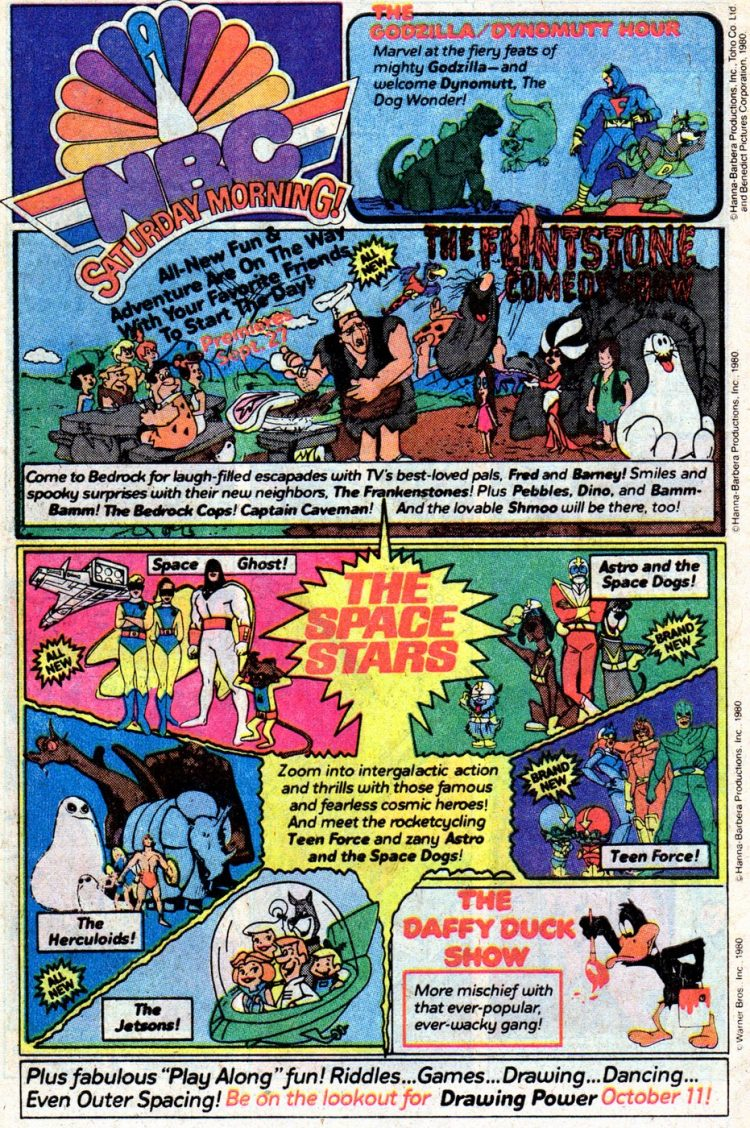 NBC Saturday morning TV show lineup with cartoons from 1980