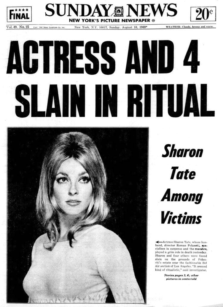 NY Daily News headlines - Actress and 4 slain in ritual - 1969