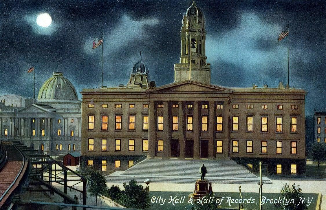 NYC night - City Hall and Hall of Records, Brooklyn NY (c1909)