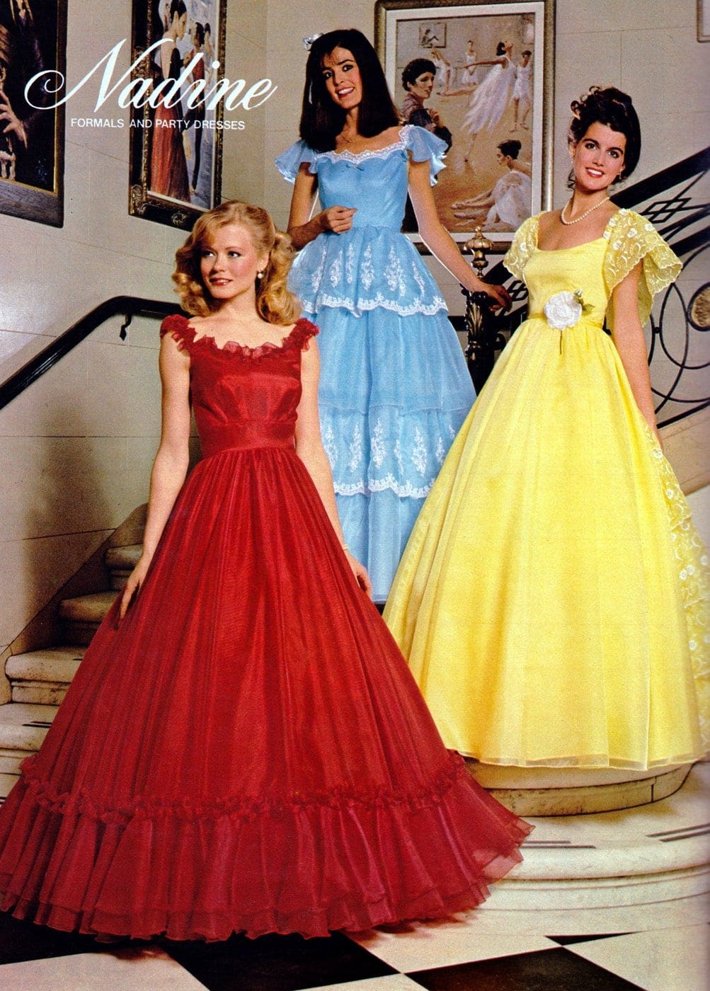 Nadine brand prom dresses in red blue and yellow from 1981