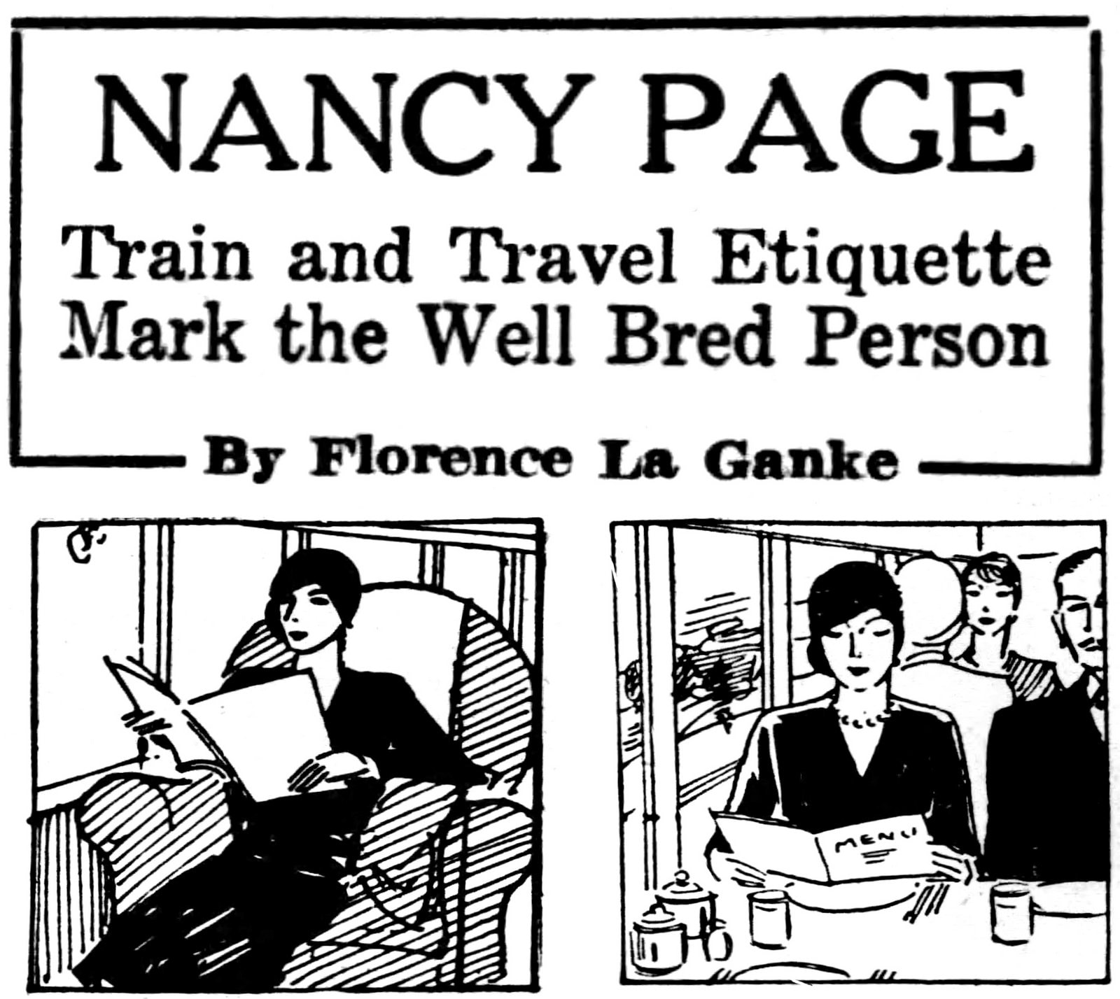 Nancy Page Train and travel etiquette mark the well-bred person (1929)