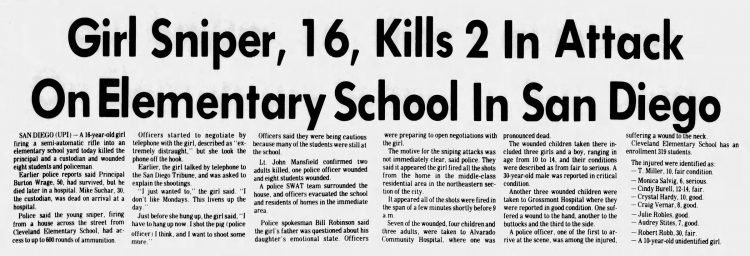 Napa Valley Register headline - Jan 29 1979 - Brenda Ann Spencer school shooting front page