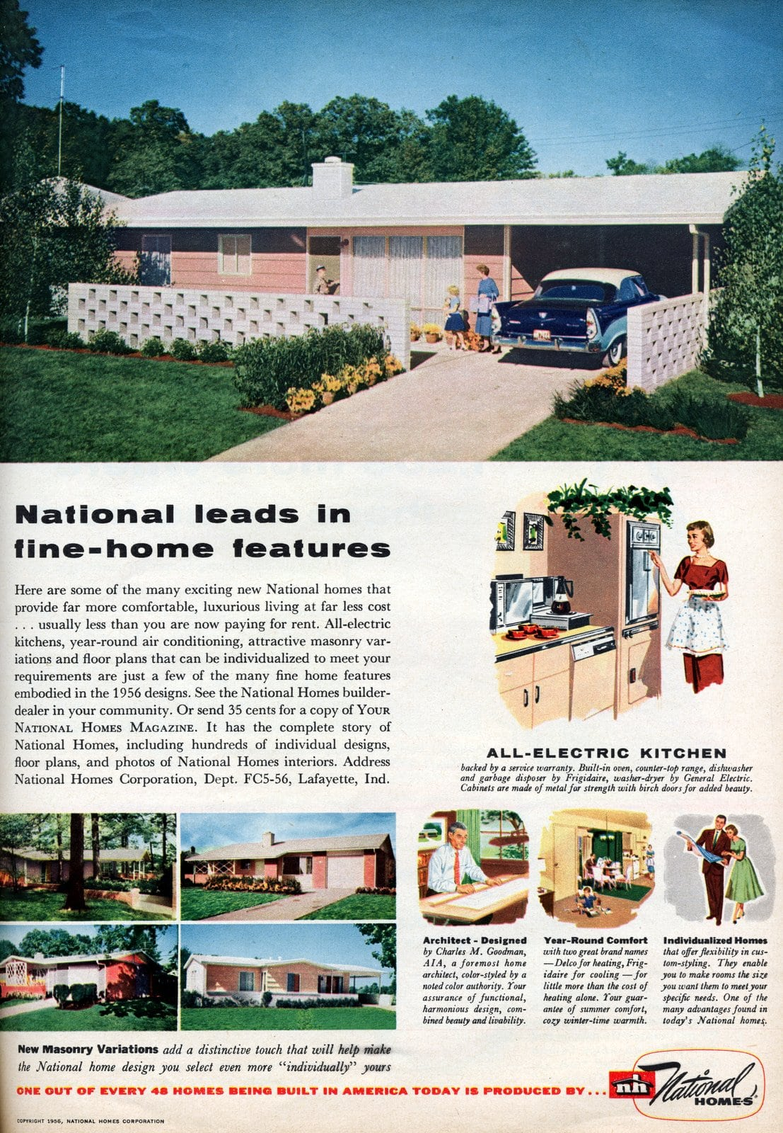 National leads in fine-home features (1956)