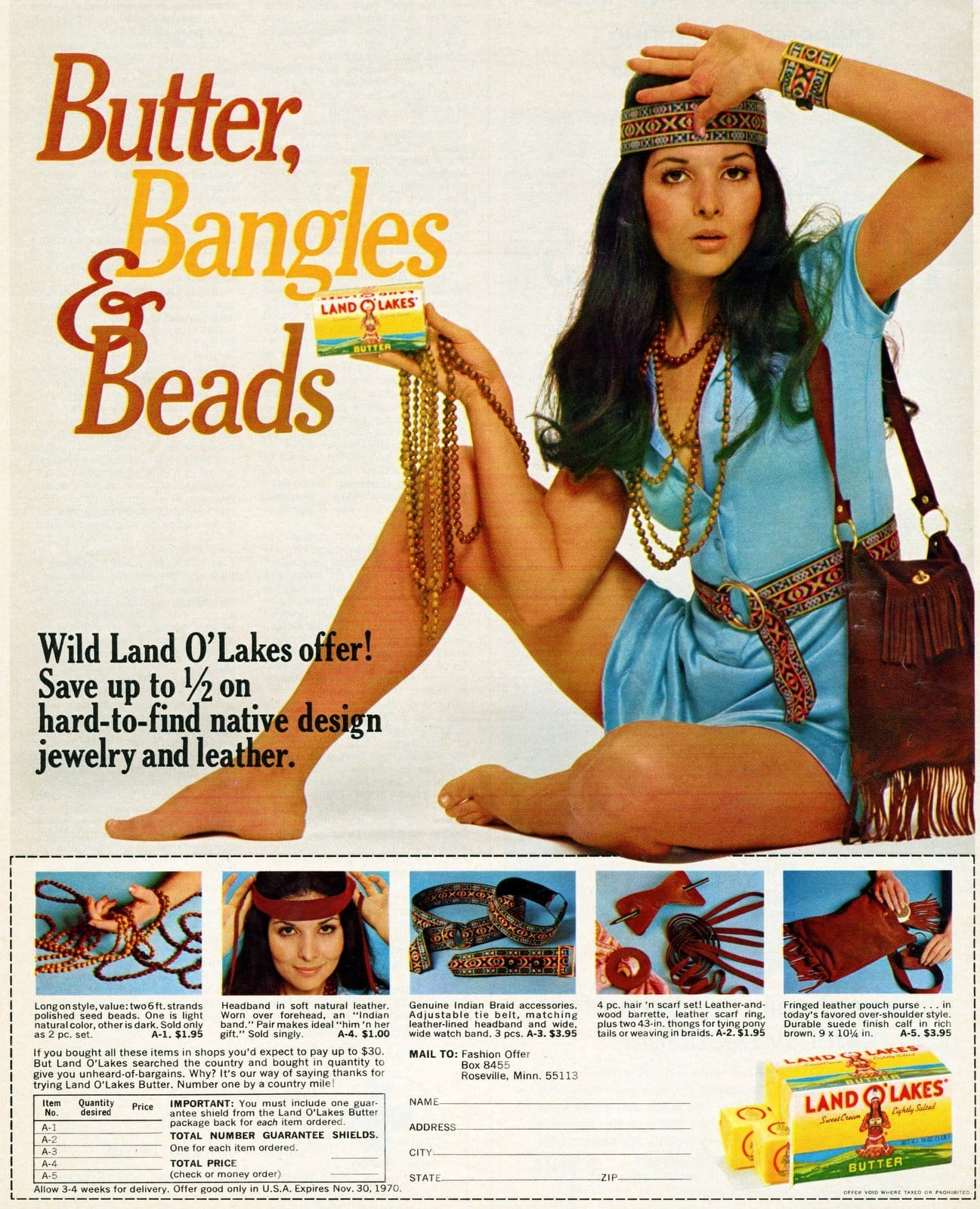 Native American jewelry offer - Land o Lakes 1970 fashion