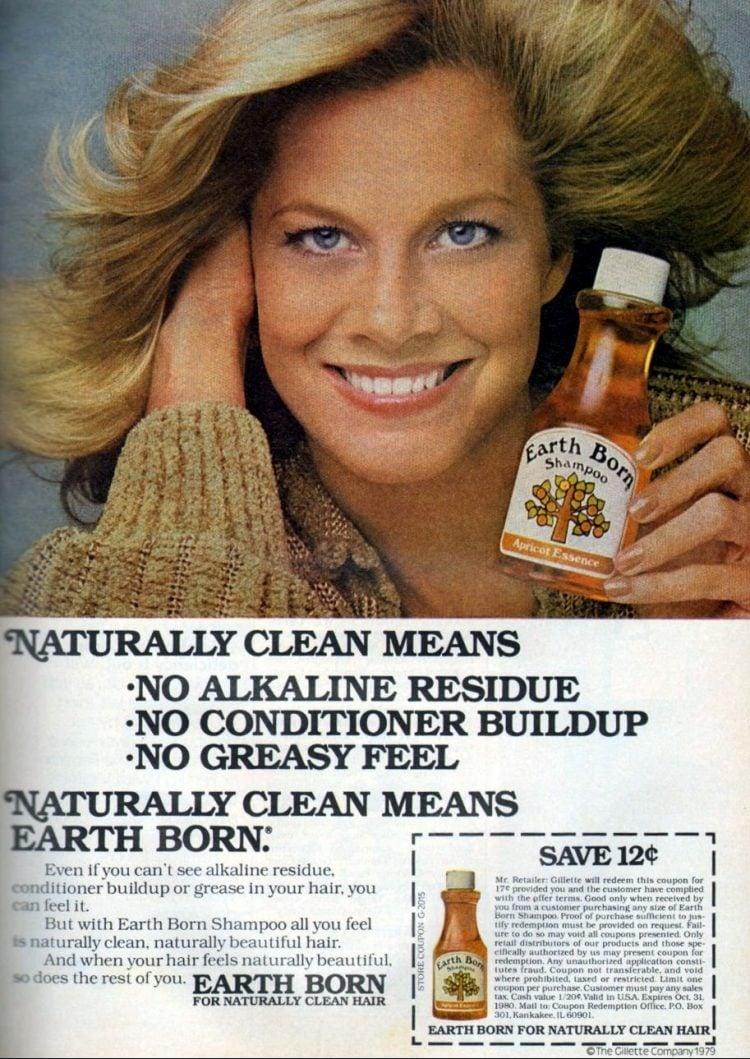 Naturally clean means Earth Born shampoo (1980)